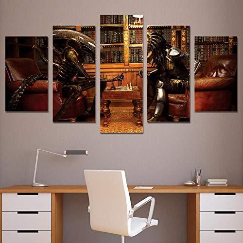 LCZM 5 Piezas Cuadros En Lienzos Pintando Cuadros Modernos Impresión De Imagen Artística Decorativo para Salón O Dormitorio Aliens Vs Predator Película Marco/100x55CM