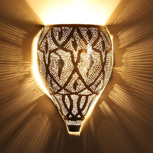 Orientalische Wandlampe marokkanische Wandleuchte Faruk Silber 29x21 cm (H/B) | Echt versilberte Wandbeleuchtung | Kunsthandwerk aus Marrakesch | Schöne orientalische Dekoration | AWL950
