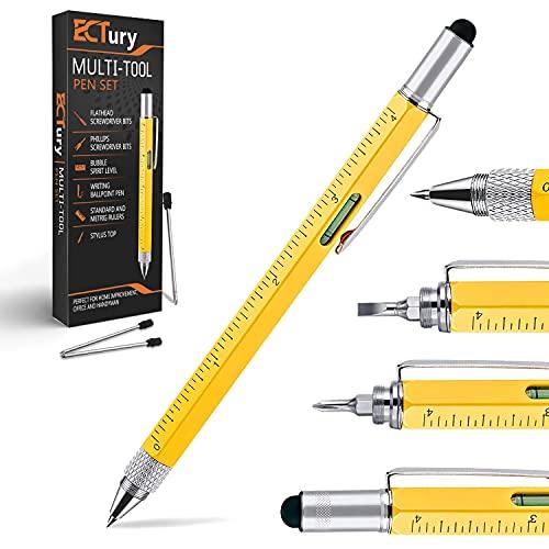ECtury Geschenke für Männer - 6 in 1 Kugelschreiber Gadgets für Männer, Vatertagsgeschenk, Personalisierte Geschenk, Werkzeug Stifte Geschenkideen Kleine Geschenk für Papa Opa, Frauen Männer Geschenk