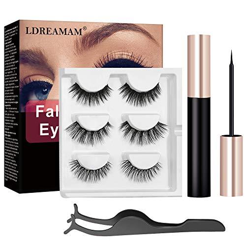 Cils magnétiques Eyeliner magnétique,Faux Cils Magnétique,Magnétique Eyeliner Kit De Cils Magnétiques,3D Réutilisables sans Colle Faux cils,Eye liner magnétique imperméable