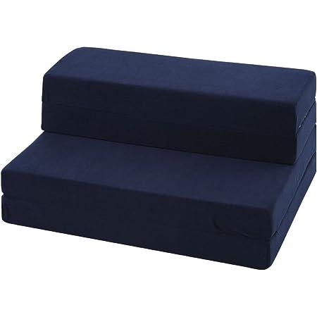 ぼん家具 折りたたみ ソファベッド 4WAY 198×90cm シングル マットレス ネイビー