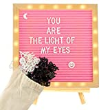 Pink Felt Letter Board with LED Lights- 10 × 10 Inch Changeable Message Board with Rustic Vintage Wood Frame 510 Pre-Cut Black & White Letters Tripod Stand and Wall Mount Hanger for Party Home Decor