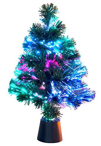 Lunartec Glasfaser Weihnachtsbaum: Deko-Tannenbaum, dreifarbige LED-Beleuchtung, Batteriebetrieb, 45 cm (Glasfaserbaum)