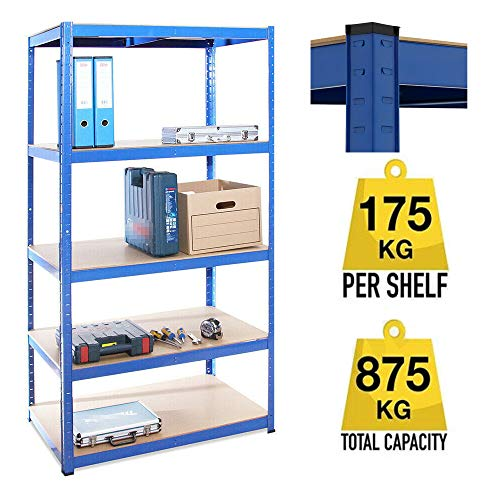 6.Muscle Rack 5-Shelf Industrial Steel Shelving Unit 150x70x30cm Blue 175kg per Shelf,875kgs Capacity Garage shed Storage Shelving