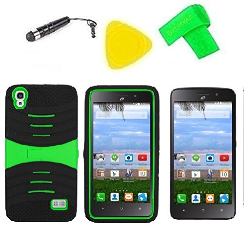 Heavy Duty Hybrid Phone Cover Case + Screen Protector + Extreme Band + Stylus Pen + Pry Tool For Straight Talk Tracfone NET10 Huawei Pronto LTE H891L / Ascend SnapTo G620-A2 LTE (S-Hybrid Black Green)