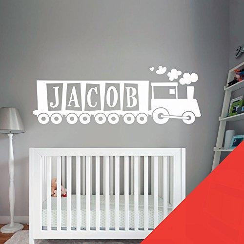 Train, Tank Engine – Chambre de garçon Nom personnalisé Art mural autocollant – [seulement nous envoyer un message avec le nom.], coquelicot, Large (950x290mm)