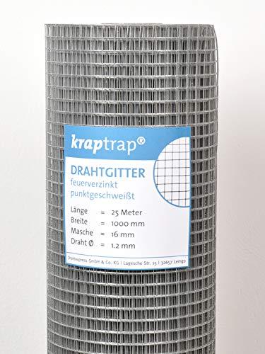 kraptrap® Volierendraht Drahtgitter 16x16mm Masche 1x25m Schweißgitter 4-eck Drahtzaun