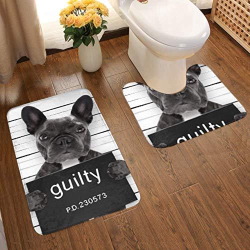 Bathroom Rugs Set 2 Piece Polyester Bath Mats and U-Shaped Toilet Rug Non Slip Bath Rugs Machine Washable Criminal Mugshot French Bulldog Dog Police Bath Mats for Tub, Shower, Bathroom Floor