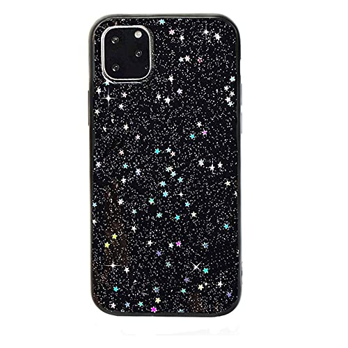 iPhone 11 Pro max Stars Case, Feibili Bling Glitter Space Planet Sparkle Stars Moon Cosmos Outter Space Soft Flexible TPU Silicon Case for Apple iPhone 11 Pro Max- (Black Stars)