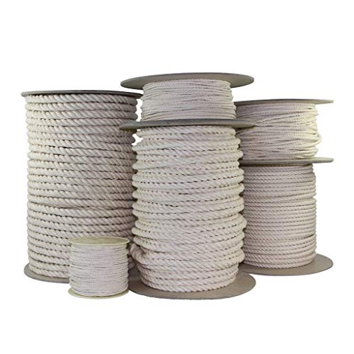 SGT KNOTS Twisted 100% Cotton Rope - High Strength, Natural Biodegradable, Chemical Free Rope for Commercial, Indoor/Outdoor (1/8