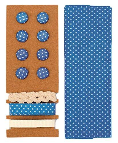 Lili Rose Kit de textile bleu pois 48 x 48 cm Bandes 3 x 1 m 8 boutons