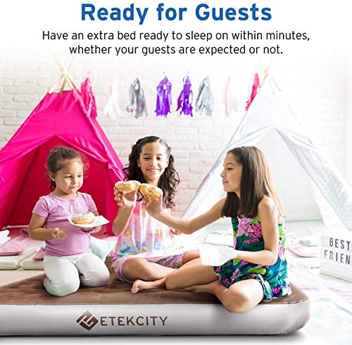 Etekcity Camping Air Mattress, Inflatable Mattress Air Bed Queen Twin with Rechargeable Pump, Leak-Proof Blow Up Mattress Raised Airbed , Height 9