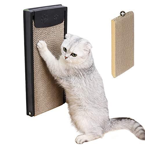 2 en 1 gato Rascador montado en la pared gato Rascador de cartón corrugado inclinable Scratchy con reemplazable..
