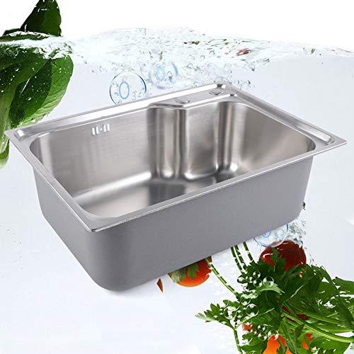 Lavello da cucina in acciaio inox,Lavello da cucina lavello da incasso,Profondità lavello:210mm,Spessore:1,3mm (Dimensioni esterne del lavello:620*450mm,Dimensioni interne del lavello:580*410mm)