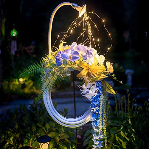 HOVERLY Lighted Garden - Star Shower Garden Art Light Decoration - 23' Led Strands, Watering Can, Fairy Lights Solar LED, Magical Garden, Funny Art