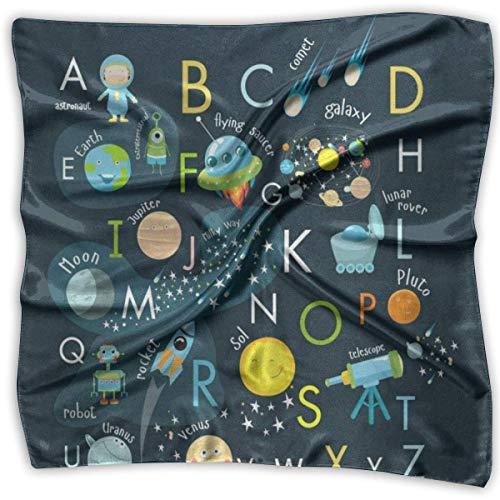 Quadratischer Schal Raum Englisch Alphabet Schalldämpfer Unisex Taschentuch Krawatte für Frau
