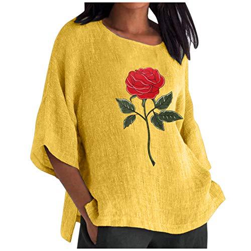 YANFANG Camiseta para Mujer,La Moda de Las señoras de Las Mujeres recortó la Blusa Suelta de la Camisa del algodón del Cuello Redondo de Las Mangas,Camisa Elegante Túnica Casual Suelt