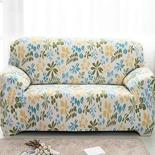 PPOS Funda de sofá elástica Universal, sofá seccional, Funda de Muebles para sillón, pájaros Florales, Hojas A10, 3 Asientos, 190-230cm-1pc