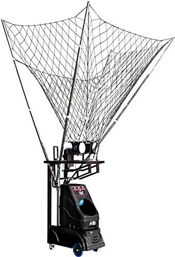 SIBOASI Sports S6839 Professional Basketball Shooting Machine Rebounder Automatic Basketball Return and Adjustable Guard Net LED Display Control Panel Portable Basketball Training Equipment Black