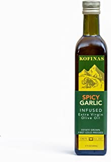 Spicy Garlic Flavored Extra Virgin Cold Pressed Olive Oil 500 Ml (17 Oz) (Rosemary, Thyme, Basil, Garlic, Red Pepper and Chipotle Pepper Flavored)