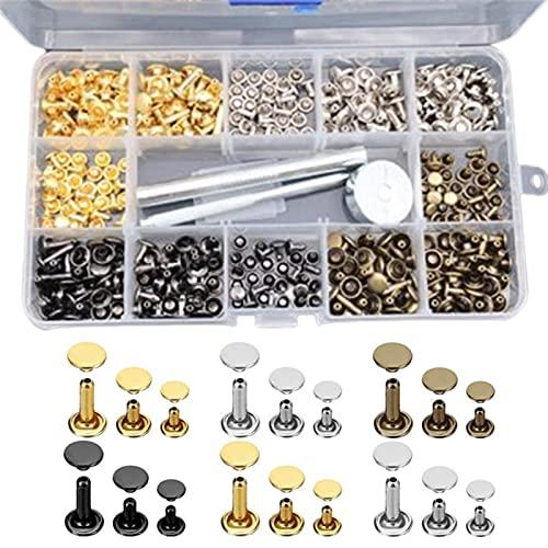 Dankera Juego de 180 remaches de doble cara de 4 colores + herramientas de instalación de cuero Cap Bump Nails Willow Nails