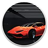 Impresionantes pegatinas de vinilo (juego de 2) 7,5 cm – moderno rojo superdeportivo coche coche deportivo divertido calcomanías para ordenadores portátiles, tabletas, equipaje, reserva de chatarras, neveras, regalo fresco #45759