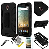 For 2nd Gen. ZTE Maven 2 Z831 / ZTE Sonata 3 / ZTE Prestige N9132 /ZTE Avid Plus Z828 /ITUFFY 3items: Screen Film+Stylus Pen+Dual Layer Rubber Plastic Hybrid Armor Kickstand Case (Black / Black)