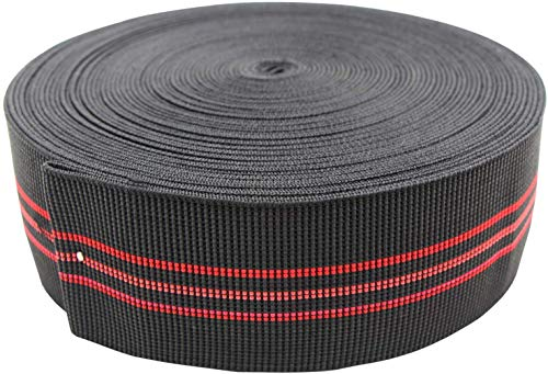 QQCASE Sofa Elastic Webbing, Stretch Latex Band, Furniture Repair DIY Upholstery Modification, Elasbelt Chair Couch Material Replacement ,Spring Alternative -3 in Wide x 60 Ft Long,1 Roll Black/Red.