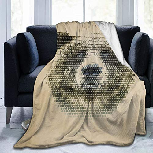 Minalo Personalized Fleece Blanket,Bear with Dotted Animal Head,Living Room/Bedroom/Sofa Couch Bed Flannel Quilt Throw Blanket,50'X 60'