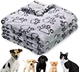 Soft Dog Blanket, Warm Puppy Blankets Cat Kitten Throw, Medium & Small Fluffy Pet Bed Blanket, Cute Paw Print Pet Blanket for Furniture, Couch Sofa, Newborn Pets Essentials & Gifts