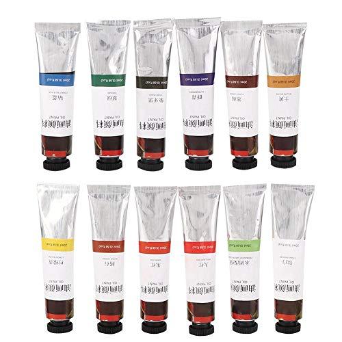 Pintura al óleo soluble en agua 12 juegos de tubos de 20 ml, colores surtidos Set de pintura de acuarela Arte Pintura al óleo para artistas Estudiantes principiantes