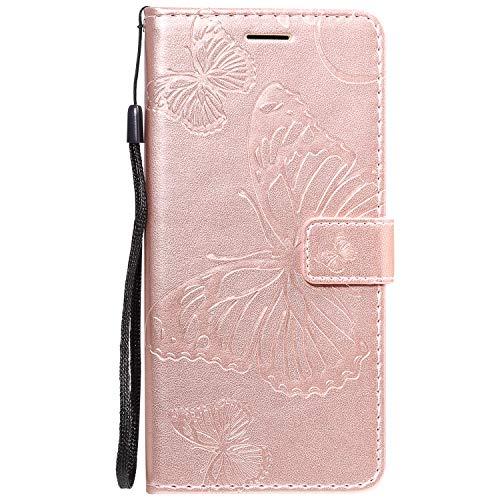Jeewi Hülle für [Huawei Mate 30 Pro] Hülle Handyhülle [Standfunktion] [Kartenfach] [Magnetverschluss] Tasche Etui Schutzhülle lederhülle klapphülle für Huawei Mate30 Pro - JEKT041008 Rosa Gold