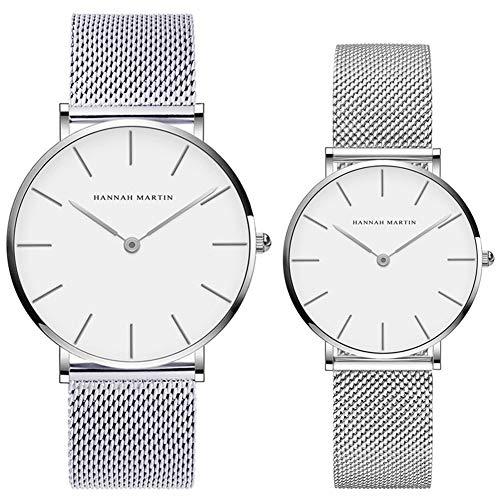 Kubagom Reloj de Cuarzo para Mujer Hombre Banda Malla Acero Inoxidable Ultra Delgado (Blanco, Banda de Plateado)