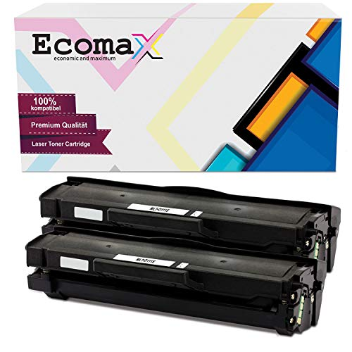 Ecomax 2 Pack XXL toner | 150% meer inhoud | compatibel met Samsung MLT-D111S/ELS MLT-D111 Xpress M2020 M2020W M2022W M2026W SL-M2070W SL-M2070 Series - zwart 2.500 pagina's