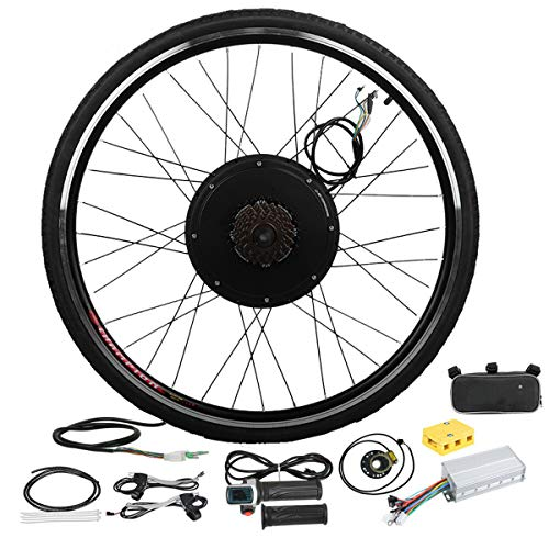 OUNUO 26' Rear Wheel Electric Bicycle Motor Conversion Kit 48V 1000W with 5-level Smart Pedal Assistance, Dual Mode Controller E-bike Cycling Hub, Widened Tires (48V 1000W Rear Wheel)