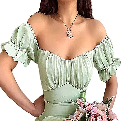 FUNWAVE Vestido largo para mujer, elegante, vintage, manga abombada, floral, cottagecore con hombros descubiertos, vestido largo para fiesta, playa