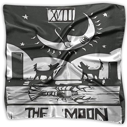 JJIAYI Mixed Designs Silk Square Scarves Bandana Scarf, Brown White Drawing Lobster Wolves Crescent Moon Stars Tarot Card Design,Womens Neck Head Set