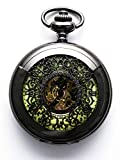 Steampunk Vintage Luminous Roman Letters Skeleton Mechanical Pocket Watch with Chain