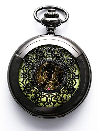 Steampunk - Reloj de bolsillo con cadena, diseño de letras