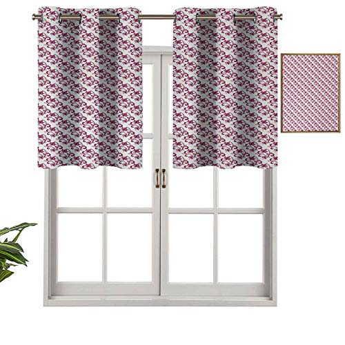 Hiiiman Valance Curtains Grommet Thermal Insulated Old Fashioned Scroll Style Pattern with Flourishing Plants Curly Pink Leaves, Set of 1, 36'x18' for Bedroom Bathroom and Kitchen Blackout Curtains
