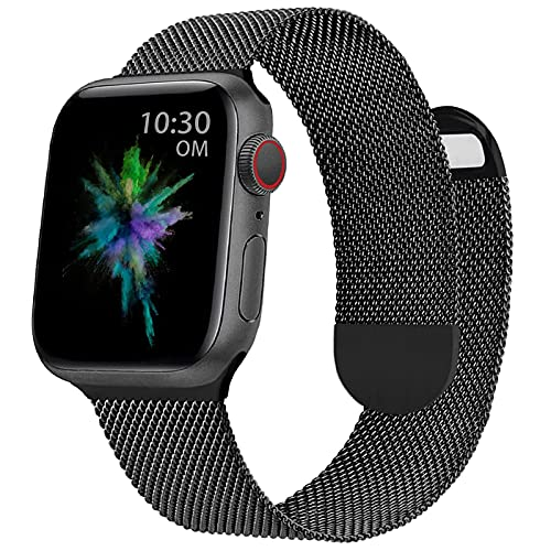 OMECKY Milanese Metal Watch Bands Compatible with Apple Watch 38mm 40mm, Magnetic Stainless Steel Mesh Straps Replacement for iWatch Series 6/5/4/3/2/1/SE , Black