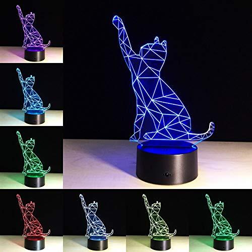 jiushixw 3D acryl nachtlampje met afstandsbediening kleurverandering tafellamp klok Maya White tafellamp