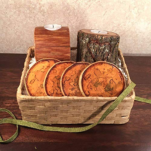 Wood Candles and Coasters Gift Basket