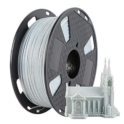 PLA Marble 3D Printer Filament 1.75mm, Dimensional Accuracy +/- 0.02 mm, 1kg Spool (2.2lbs), Fit Most FDM Printer