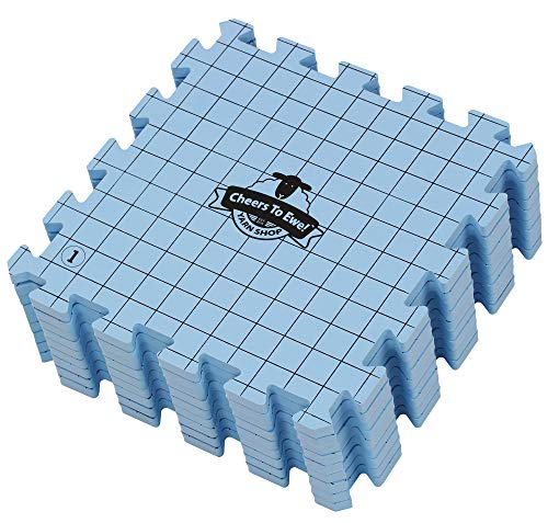 Cheers to Ewe! Foam Knitting Block Mat, Grid Blocking for Knitting Accuracy and Crochet, ½ Inch Thick with 1 Inch Grid