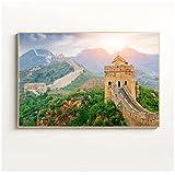 HGLLL Cuadro de Arte de Pared Paisaje de montaña China Imágenes de la Gran Muralla Decoración de Sala de Estar Pintura de Lienzo Póster de Puesta de Sol (40x60cm / 15.7 × 23.6 Pulgadas) Sin Marco
