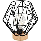 Lámpara decorativa H17,5 cm 12 LED, funciona con pilas, color negro/natural, diseño industrial, lámpara de mesa decorativa