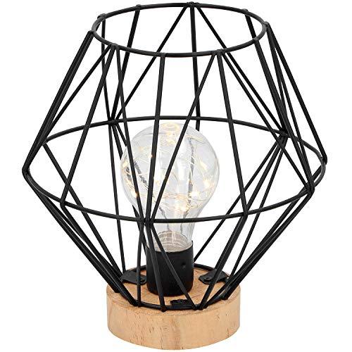 Lámpara decorativa H17,5 cm 12 LED, funciona con pilas, color negro/natural, diseño industrial, lámpara de mesa decorativa