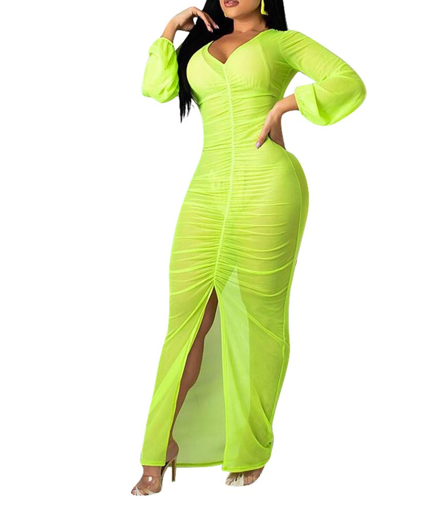 Available at Amazon: OLUOLIN Women Sexy See Through Mesh Sheer Long Sleeve Solid Deep V Neck Ruched Sheath Slit Bodycon Long Maxi Dress