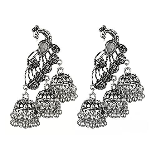 Qagazine - Orecchini pendenti a forma di pavone, stile esagerato, con coda lunga, idea regalo per donne e ragazze